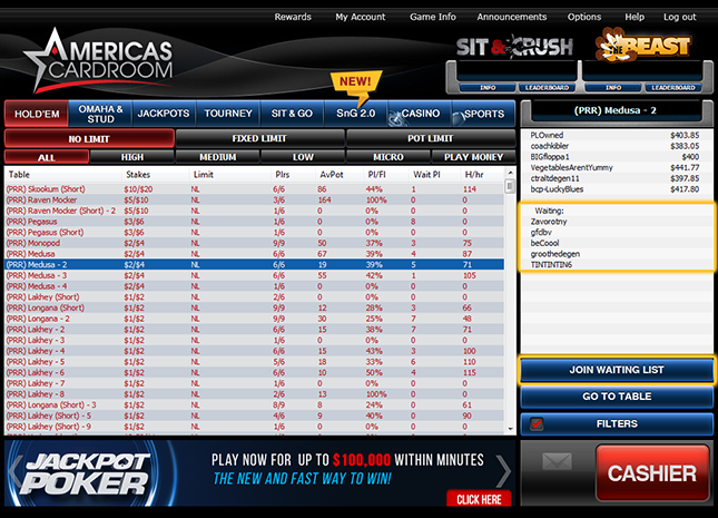 Americas Cardroom Navigating The Software