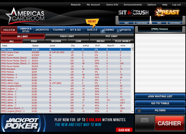 Navigating the Software - Americas Cardroom
